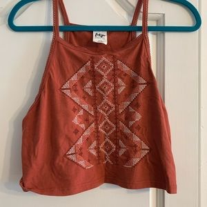Red tribal print crop top. Size xl